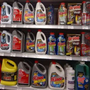A selection of chemical drain cleaners