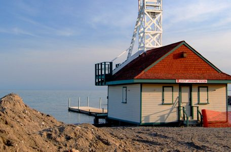 leuty lifegaurd station, just south of homes in the beaches that require backwater valves