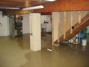 flooded basement during plumbing emergency service call