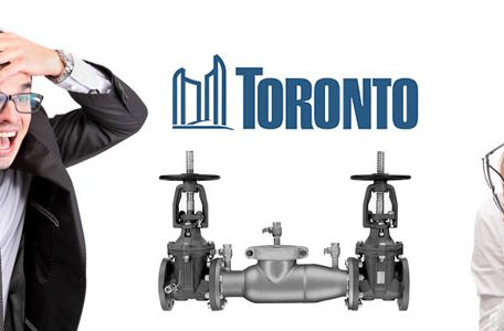 Business man and woman confused about Toronto's Backflow Prevention Program.