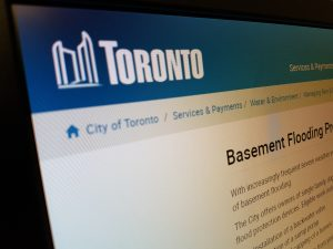 View of a browser with the City of Toronto website loaded on the backwater valve subsidy page